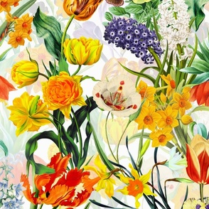 """10""""  watercolor vintage flower antique flowers english country historical pansies hand drawn nature utart pansy shabby chic tulips victorian nature nostalgic botanical moody floral vintage daffodils spring flower meadow"""