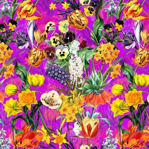 "12"" Vintage Botanical Springflower Meadow - Shiny Magenta"