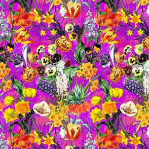 "10"" Vintage Botanical Springflower Meadow - Shiny Magenta"
