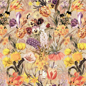 "12"" Vintage Botanical Springflower Meadow - Pastel Sepia"