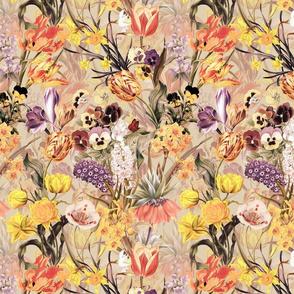 "10"" Vintage Botanical Springflower Meadow - Pastel Sepia"