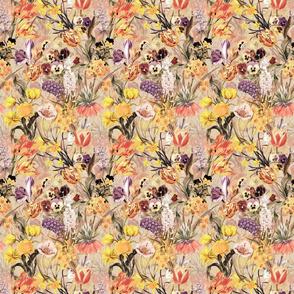 "6 "" Vintage Botanical Springflower Meadow - Pastel Sepia"