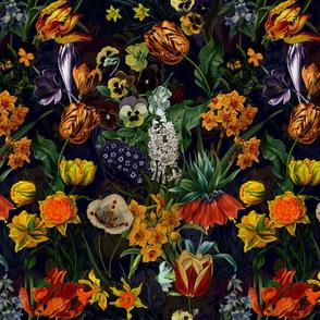 """12"""" Vintage Botanical Springflower Meadow - Black"""