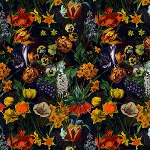"""10"""" Vintage Botanical Springflower Meadow - Black"""