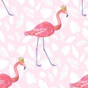 pink flamingo in gold crown on pink palms
