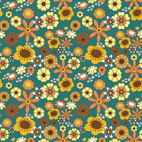 Overlapping Teal 70s Flowers