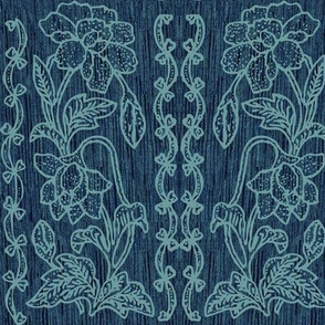 my-tjap116-MINAGREENlines-on-DARK-TURQUOISE-FABRIC-double-vertical-floral-border-resized-vector-minagreen-lines-scan-fabric-real-pattern-bkgr-NEW-DKTURQ-FABRIC-NEW2020