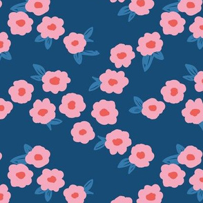 Butter cup flowers and leaves minimal boho garden daisy flower bed retro nursery navy blue pink coral