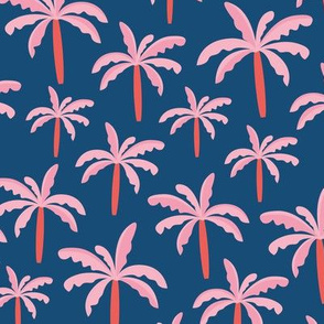 Lush summer palm trees tropical forest beach surf theme nursery pink navy coral