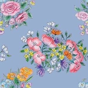 Light Blue Floral Bunches