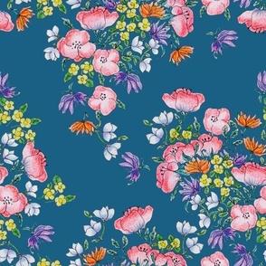 Blue Poppy Floral Bunch