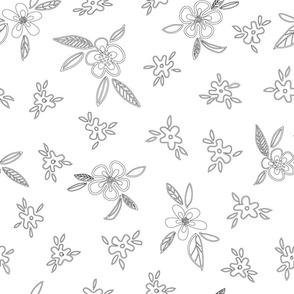 Floral outlines ditsy design