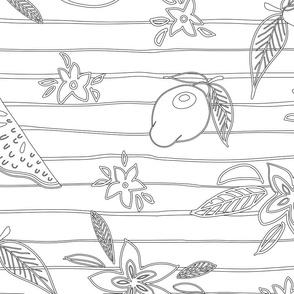 Lemon and floral outlines in black coloring design