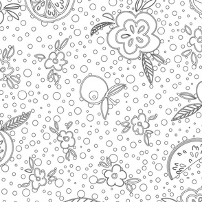 Orange and floral outlines in black and white perfect for coloring