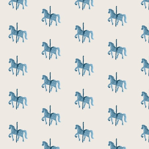 single carosel horse Beige
