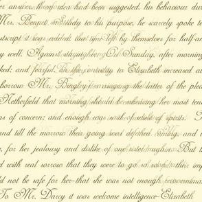 Jane Austen Pride Text chocolate  brown on cream