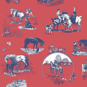 Black Beauty Horse in Red and Navy