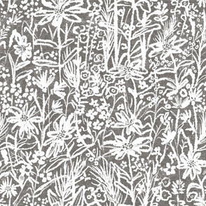 Field of wild flowers in greyscale