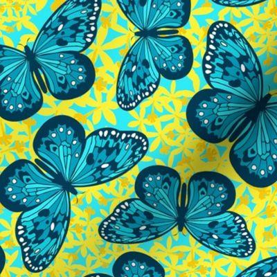 Teal Butterflies For Ovarian Cancer Spoonflower