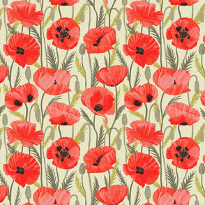 Red poppies on light olive green