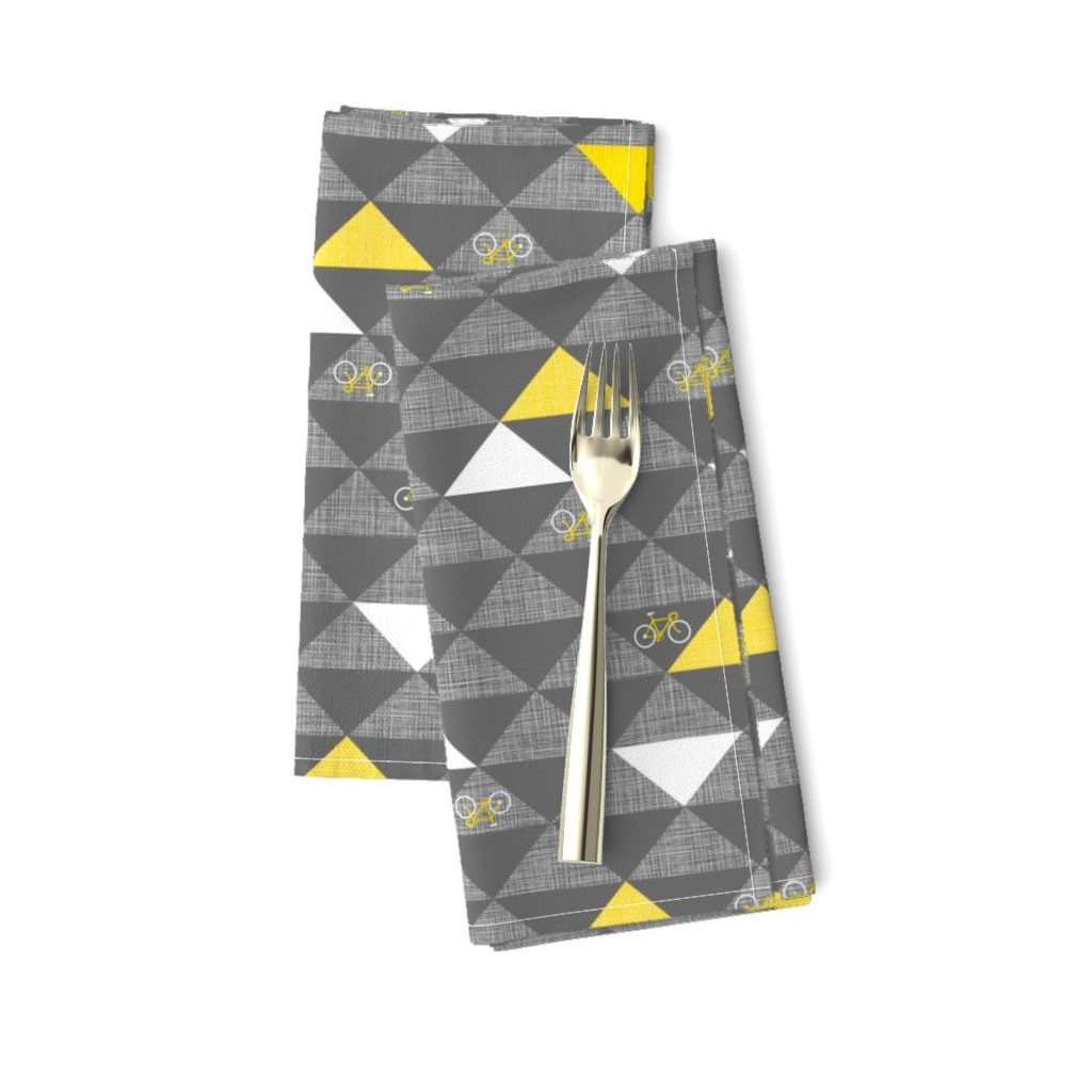 Amarela Dinner Napkins featuring Le Tour Triangles Grey by zesti