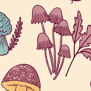 (Large)Mushroom Medley - Pink and Teal