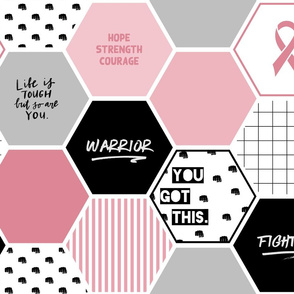 Warrior: Breast Cancer (hexagon cheater quilt wholecloth)