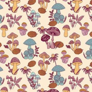 (Small)Mushroom Medley - Pink and Teal