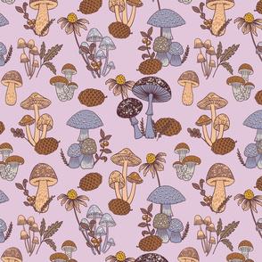 (Small)Mushroom Medley - Lilac and Nougat