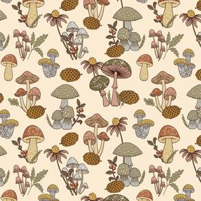 (Small)Mushroom Medley - Moss Green and Pink