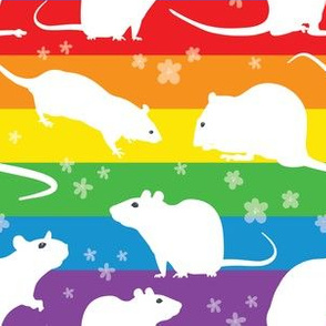 Rainbow white silhouette rats