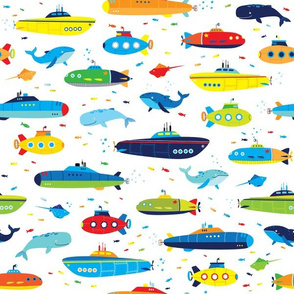 submarine whale fish seamless boys pattern