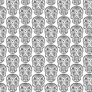 Sugar Skulls - Black on White - Medium