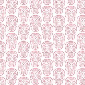 Sugar Skulls - Coral on White - Medium