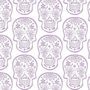 Sugar Skulls - Lavender on White - Jumbo