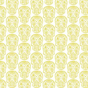 Sugar Skulls - Lemon on White - Medium