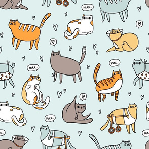 Cute special cats cartoon pattern