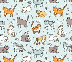 Cute special cats cartoon pattern