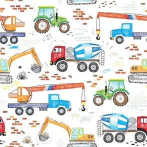 cool hand drawn construction trucks