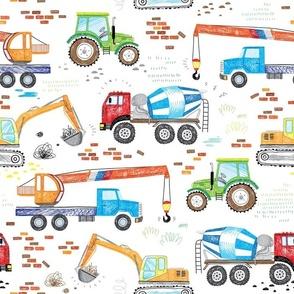 cool hand drawn construction trucks