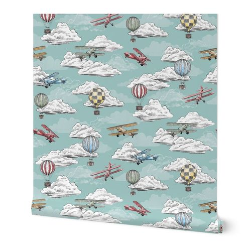 Joie de Flight - Airplane and Air Balloon Toile