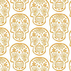 Sugar Skulls - Orange on White - Jumbo
