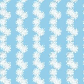 Blue & White Spring Floral Stripe