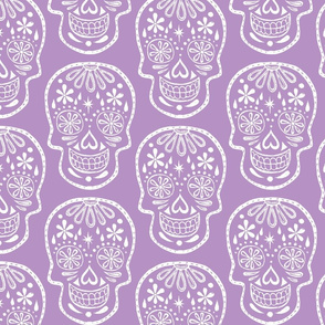 Sugar Skulls - White on Lavender - Jumbo