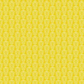Sugar Skulls - White on Lemon - Small