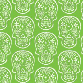 Sugar Skulls - White on Lime - Jumbo