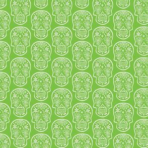 Sugar Skulls - White on Lime - Medium