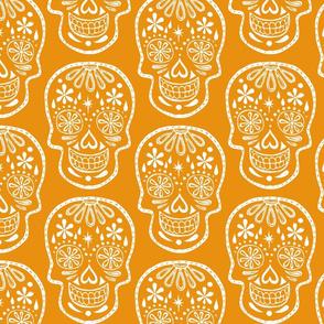 Sugar Skulls - White on Orange - Jumbo