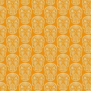 Sugar Skulls - White on Orange - Medium