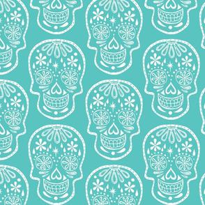 Sugar Skulls - White on Turquoise - Jumbo